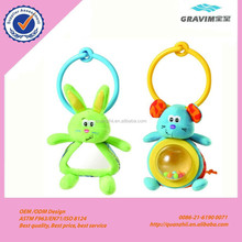 plush mouse and rabbit hand bell toy with baby