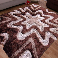 handmade designs 100% polyester shaggy silk carpets rugs