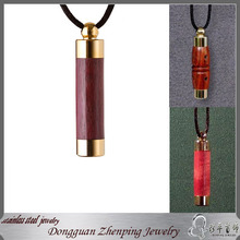 Stainless steel Gold Plated Wooden Pendant Necklace Jewelry