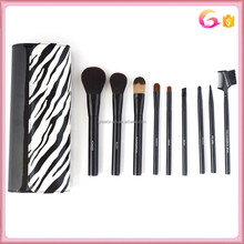 9pcs Cosmetic Makeup Brush Set With black and white evening clutch bag