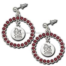 New MLB Team Logo Earrings Rhinestone St. Louis Cardinals Charms Earrings