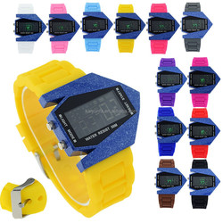 New color revolution ceramic pattern LED silicond digital watch 12 colors