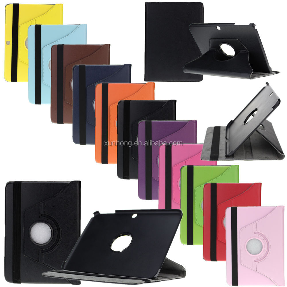 C1437 PU Leather Cover For Samsung Galaxy Tab 3 10.1 P5200 Black Rotating Case Skin