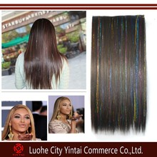Wholesale Straight Full Head One Piece 5 Clips In On Hair Extensions With Tinsel Hair Perm Wash Party