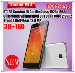 "F Original Xiaomi Mi4 Mi 4 Mobile Phone MIUI V6 Optional 5"" Qualcomm Snapdragon 801 Quad Core 1920X1080P 3GB 13MP in stock"