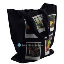 Large full color printing black canvas tote bag
