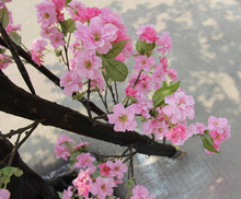 Artificial Plastic Pink Flowers Cherry Blossom Umbrella Shaped Tree For Wedding Decoration