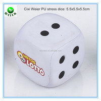5.5cm bulk polyurethane PU dice toy/custom printed PU stress ball dice type 5.5cm/stress toy PU toy dice style 5.5 cm