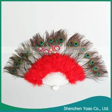 hermosa pluma de pavo real de la danza del vientre del ventilador de la mano del vientre abanico fance velos