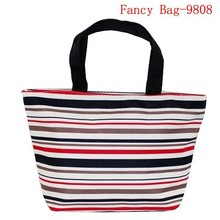 New female stripe pattern polyester shoulder bag shopping bag