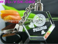 Wonderful 3d laser engraving Crystal led keychain for promotion gift