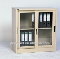 Small metal file cabinet with sliding glass door