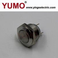 (JS16F-10/J/S) 16mm flat round switch stainless steel enclosure 1NO 1NC 36V metal momentary push button water valve