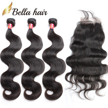 free sample bundles hair brazilian body wave wavy lace closure with virgin remy human hair