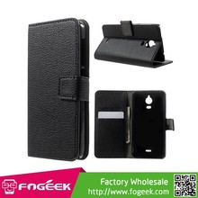 The Best Lychee Grain Leather Wallet Purse Cover for Wiko Wax
