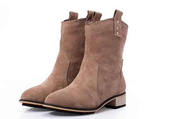 New 2014 Fashion Women's Genuine Leather Ankle Boots Heels Shoes