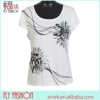 F295# lady's white t shirt short sleeve flower t-shirt for middle age women