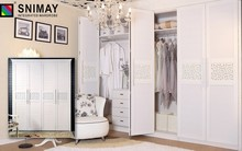White Wooden Wardrobe With Folding Doors, Customized Bedroom Wardrobe Design