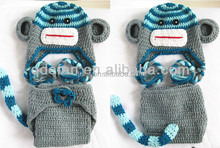 Monkey Crochet Baby Hat with Diaper Cover costume Handmade Newborn Photography Prop Animal Design Outfit