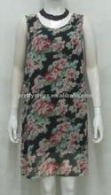 e2015 barato por mayor de China summer floral vestidos de mitad de longitud longitud de la rodilla gasa vestido bordado