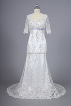 CL-429 silver lace short sleeves heavy beading hem floor length mermiad wedding dress