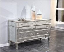antique mirrored 6 drawer dresser with crystal handle in sliver finish for home use