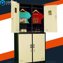 Fashion light yellow 4 door metalic clothing locker with hanging bar