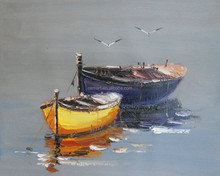 Special Designed Hot Seller Hand Paint Boats Oil Painting on Canvas for Office Wall Decoration