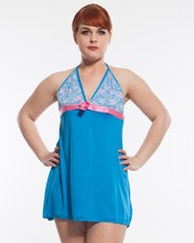 Blue top sale fat women plus size sexy babydoll lingerie