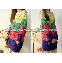 2012 fashion round neck color bar knit hollow out rainbow sweater