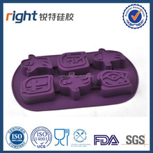 Popular lovely silicone 6 penguin ice cube tray