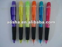 New twist promotional ball pen in 6 colors with highlighter