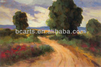 Hand painted Beautiful green tree, red flower and mud road in the wild oil painting, wild landscape pictures for house decor