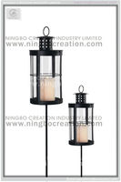 Outdoor Decorative Metal Hurricane Lantern With Pole Stake, Simple Design Grave Lantern