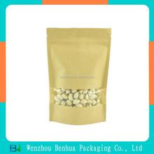 Food grade packaging brown kraft paper bag with window and zipper