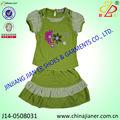2014 nuevo estilo de tela de punto hermoso estilo de verano para niños ropa de niña conjunto