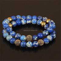 kjl-cst7 wholesale New design charm gold microscope beads men bracelet natural 8mm regalite stone beads women bracelet
