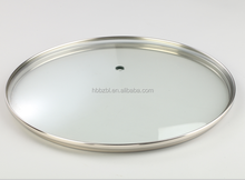Tempered transparent glass cookware lid with stainless steel ring