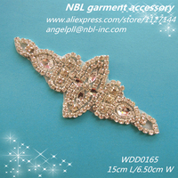 wholesale crystal bridal rhinestone appliques designs for wedding dresses WDD0165