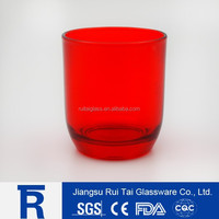 Big mouth round bottom red color vodka glass cup