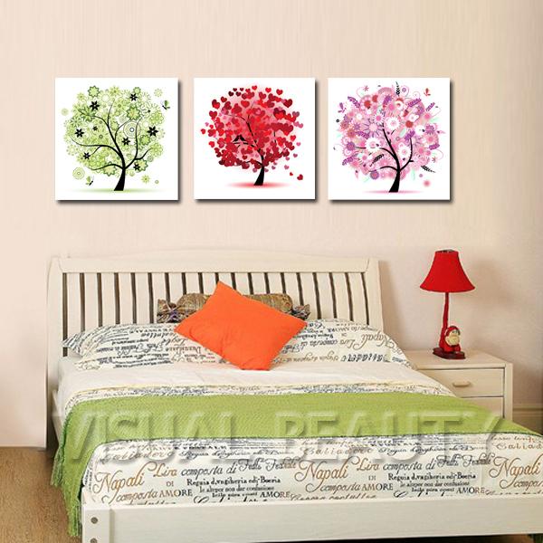 3 stück abstrakte bäume farbenfrohen gemälden wohnzimmer dekor, Hause ideen