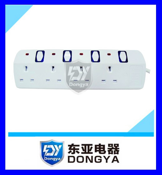 6 outlet 240V 13A UK type extension socket power strip