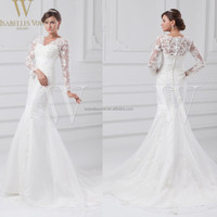 China custom made irish lace wedding dresses long sleeve princess wedding gowns