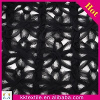 Fashion black swiss guipure lace chiffon floral embroidery design lace fabric