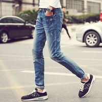 Wholesale OEM Custom Japanese men's spring and summer stars embroidered jeans feet pants hole factory outlets