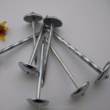 Low carbon steel umbrella head roofing nails with twist smooth ring shank