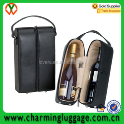 2 Bottles PU Leather Wine Carrier, leather Wine Bag with handle