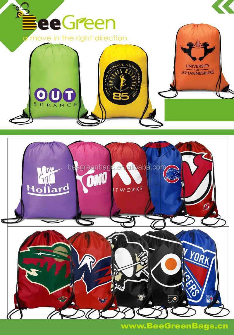 Promotional 190T polyester drawstring bag with reinforced PU corners
