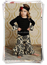cute girls fall outfits black cotton shirts floral pattern ruffle pants boutique kids clothes thanksgiving little girls outfits