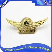 Custom wing metal badge with gold plated